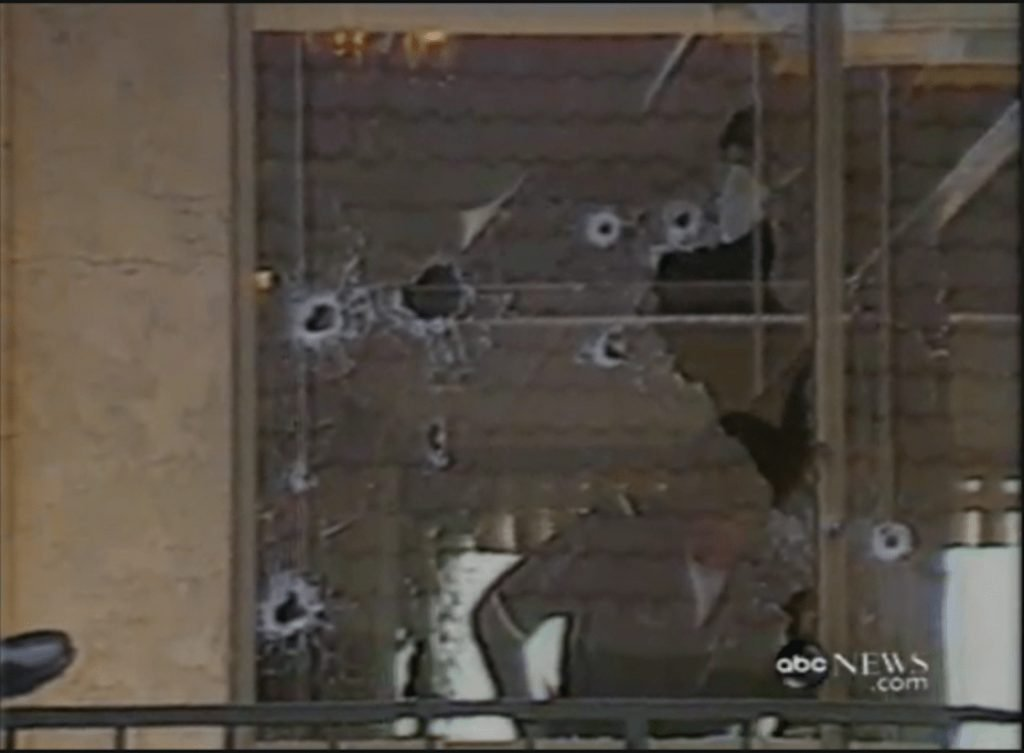 Bullet holes in the windows after the McDonald's massacre in San Ysidro, California
