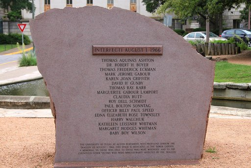 Memorial to those killed by the Texas Tower sniper in Austin, Texas on August 1, 1966.