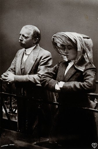 Dr. Crippen and Ethel Le Neve at their remand hearing at the Bow Street Police Court