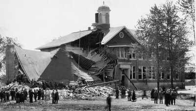 North wing of the Bath Consolidated School after Kehoe's bomb exploded