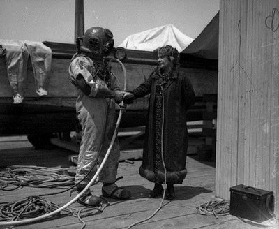 McPherson's mother, Mildred Kennedy doing a radio interview diver R.C. Crawford during the search for Sister Aimee