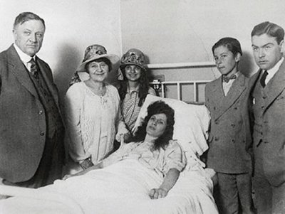 Sister Aimee convalescing in a Douglas, Arizona hospital after emerging from the desert