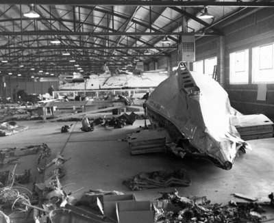 The wreckage of Flight 229 was carefully laid out in a Denver warehouse, helping investigators solve the case (FBI photo)
