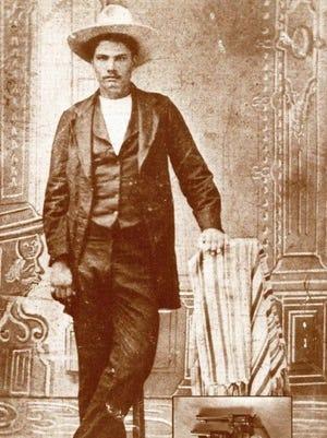 Ferrotype mirror image of John Wesley Hardin (Public Domain)