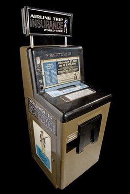"""Jack Graham used a similar machine to buy insurance policies on his mother's life.. An intact airport flight insurance vending machine in the collection of the Smithsonian's """"America By Air"""" online exhibit."""