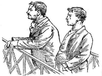 Sketch of the Albert (L) and Alfred (R) Stratton in the dock for the Farrow murders