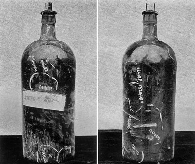 The Winchester bottle found near June's cot. White marks show where Inspector Colin Campbell found fingerprints.