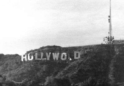 The Hollywood sign in its most dilapidated condition shortly before the 1978 restoration (Bob Beecher)