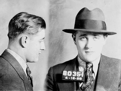 "Benjamin ""Bugsy"" Siegel in an April 1928 mugshot."
