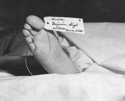 "Benjamin ""Bugsy"" Siegel in the L.A. morgue"