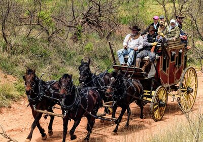 This run of the Overland/Silver dollar city stagecoach is a modern run for tourists in Springfield, Missouri. A real-life stagecoach robbery was something entirely different. (417 Magazine)