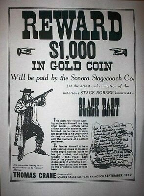 A wanted poster for Black Bart