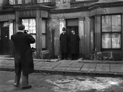 Police outside the flat at10 Rillington Place