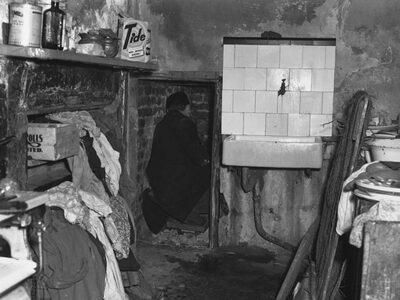 The kitchen alcove where the last three bodies were discovered