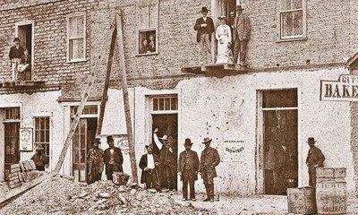 An unusual photograph of the Cosmopolitan Hotel taken by Carleton E. Watkins in 1880