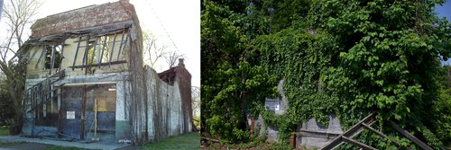 What's left of Bryant's Grocery and Meat Market in 2009 (L) and 2018 (R, photo by Eames Heard)