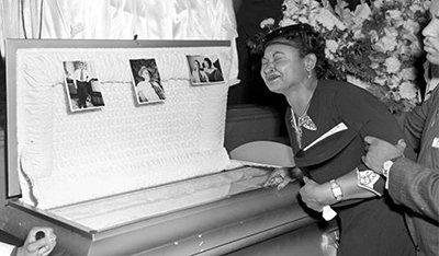 Mamie Till Bradley mourns at the funeral of her son, Emmett Till