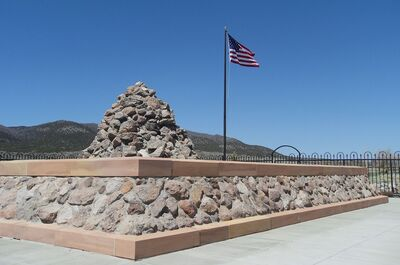 Memorial at the Mountain Meadows campiste of the Baker-Fancer party in 2005 (author's photo)