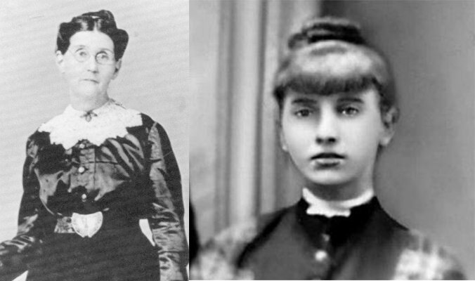 Sarah Frances Baker Mitchell  (L) , then 3, and Nancy Sophrina Huff Cates (R), then 4, both survived the massacre