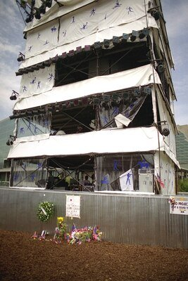 Bomb damage to the NBC sound tower at Olympic Park (Don Ramsey Logan)