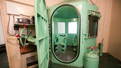 San Quentin's death row gas chamber before being dismantled on March 13, 2019 (Photo by California Department of Corrections and Rehabilitation)